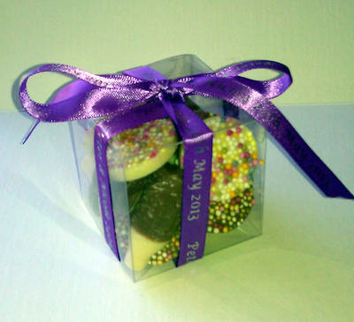 CUBE CHOC FAVOUR tied with purple personalised ribbon
