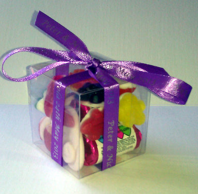 CUBE SWEETIE FAVOUR tied with purple personalised ribbon