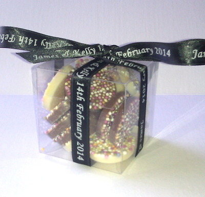 CUBE CHOC FAVOUR tied with black personalised ribbon