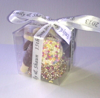 CUBE CHOC FAVOUR tied with white personalised ribbon