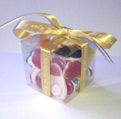 CUBE SWEETIE FAVOUR tied with gold personalised ribbon