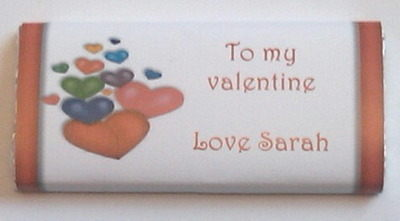 MULTI HEART VALENTINE - large chocolate bar 40g