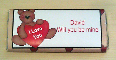 BEAR VALENTINE - large chocolate bar 40g