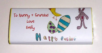 CHILD'S OWN ARTWORK EASTER BAR - large chocolate bar 40g