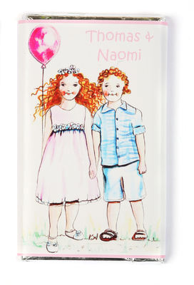 BOY & GIRL WITH BALLOON - large chocolate bar 40g