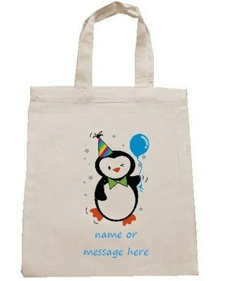 PENGUIN personalised cotton party bag (no contents included)