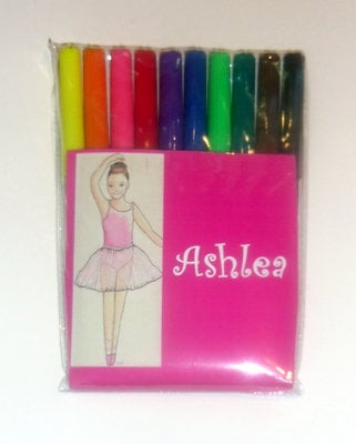 Pack of 10 childrens felt tip pens with BALLET personalised outer wrapper