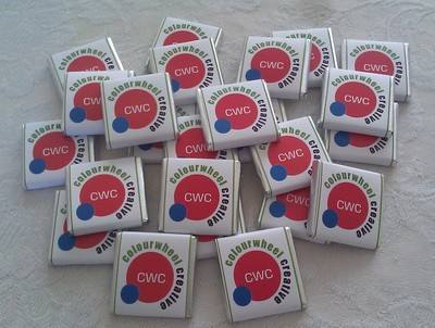 500 x MINT 4.5g mini chocs (square personalised corporate chocs)