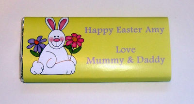 BUNNY WITH FLOWER - large chocolate bar 40g