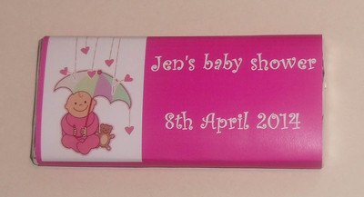 PINK BABY SHOWER - large chocolate bar 40g