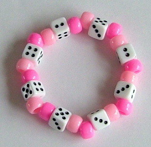 Child's handmade dice bracelet