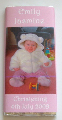Photo christening/birth bar - milk chocolate bar 40g