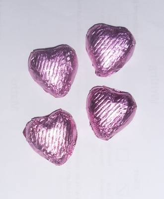 LIGHT PINK FOILED CHOCOLATE HEARTS