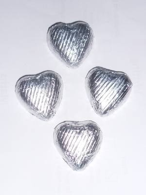 SILVER FOILED CHOCOLATE HEARTS