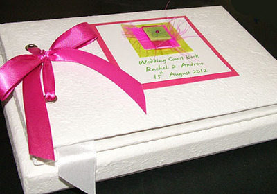 CLUANIE (PINK) personalised wedding guest book