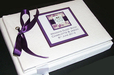 IONA (PURPLE) personalised wedding guest book