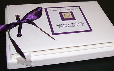 LEVEN (PURPLE) personalised wedding guest book