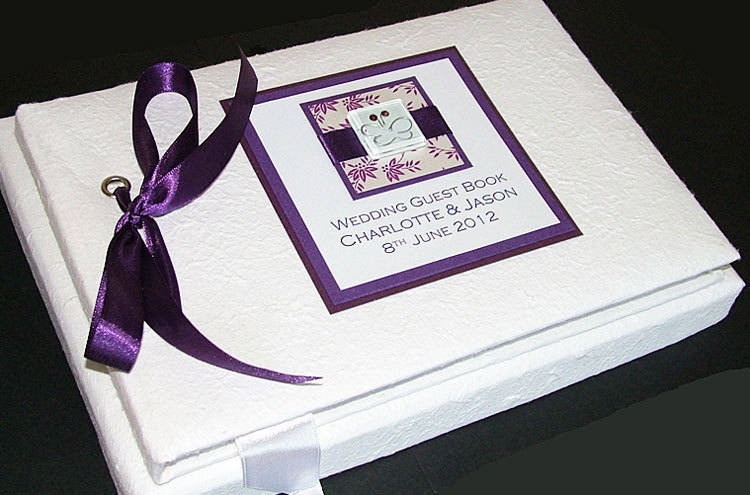PURPLE IONA guest book textured