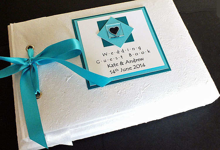 ASSYNT TEAL textured guest book