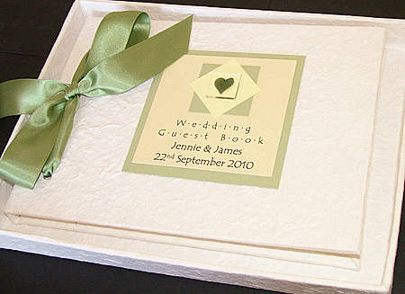 ASSYNT SAGE GREEN textured guest book