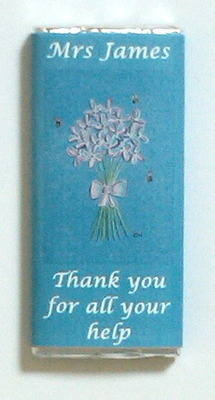 PINK FLOWER BUNCH TEACHER THANK YOU - large chocolate bar 40g