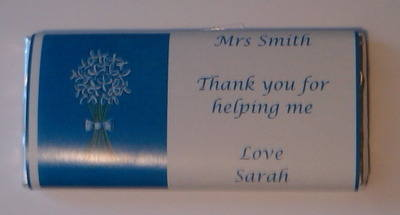 WHITE FLOWER BUNCH TEACHER THANK YOU - large chocolate bar 40g