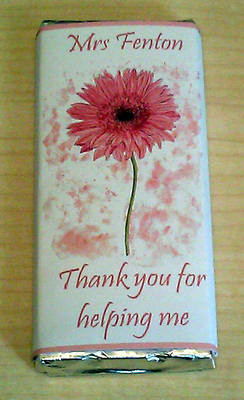 PINK GERBERA TEACHER THANK YOU - large chocolate bar 40g