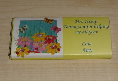 FLOWER GARDEN TEACHER THANK YOU - large chocolate bar 40g