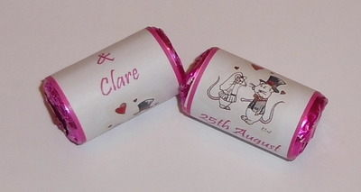 MICE COUPLE (pink) - love hearts (2 sizes)