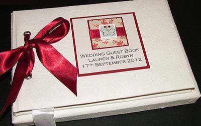 IONA (RED) personalised wedding guest book