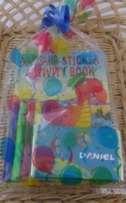 PARTY BAG (BOYS) - personalised choc bar, activity book, pencils/pens & toy car