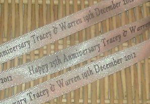 SILVER ANNIVERSARY PERSONALISED RIBBON (10 mm or 15 mm) per metre