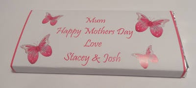 BUTTERFLIES (PINK) - large chocolate bar 40g