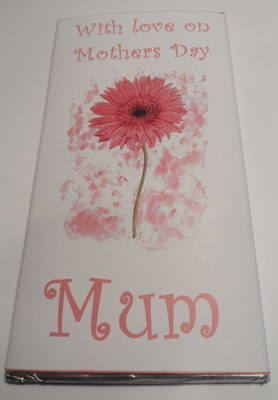 PALE PINK GERBERA FLOWER - large chocolate bar 40g