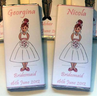 BRIDESMAID/FLOWERGIRL/MATRON OF HONOUR (pale pink) - large choc favour 40g