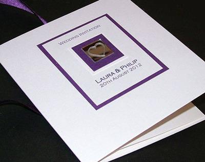 LEVEN (PURPLE) HANDMADE CLASSIC FOLD INVITATION CARD