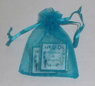 TURQUOISE ORGANZA BAG with 2 MINI CHOCS (any wrapper design)