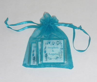 TURQUOISE ORGANZA BAG with 3 MINI CHOCS (any wrapper design)