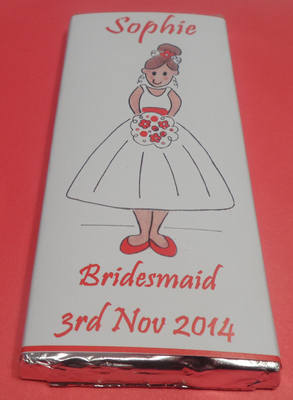 BRIDESMAID (red) - large choc favour 40g