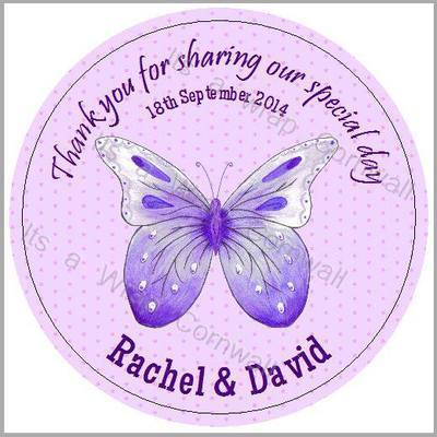 PURPLE BUTTERFLY candy bag round labels
