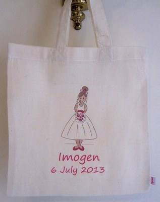 BRIDESMAID (hot pink) personalised cotton party bag (no contents included)