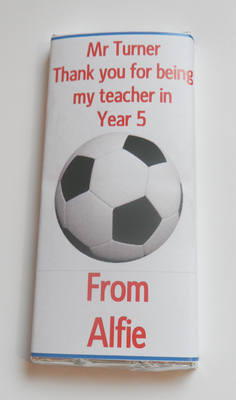 FOOTBALL TEACHER THANK YOU - large chocolate bar 40g