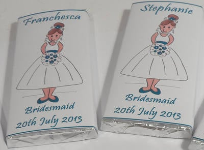 BRIDESMAID (teal) - large choc favour 40g