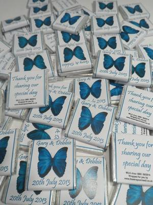 BUTTERFLY (teal) - mini 4.5g chocolate favour