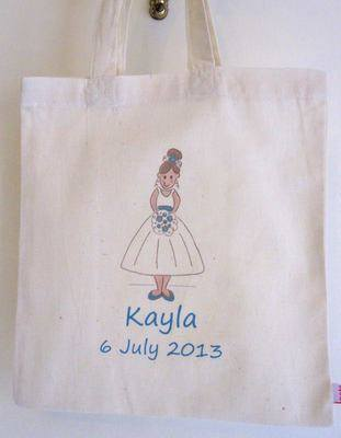 BRIDESMAID (teal) personalised cotton party bag (no contents included)