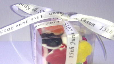 WHITE PERSONALISED RIBBON (10 mm or 15 mm) per metre