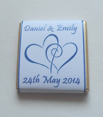 HEARTS ENTWINED (blue) - mini 4.5g chocolate favour