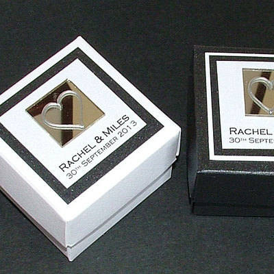 FAVOUR BOX (black & white) - personalised (box only)