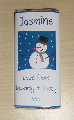 SMILEY SNOWMAN - large chocolate bar 40g