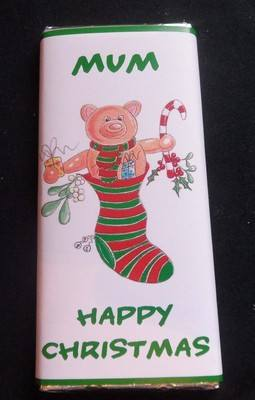 TEDDY IN STOCKING - large chocolate bar 40g
